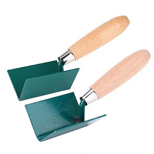 2pcs 75mm truelle de plâtrage manche en bois lame en acier à l'extérieur de la truelle d'angle