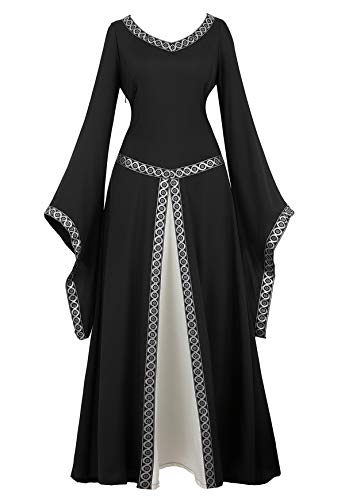 Famajia Womens Renaissance Costumes Medieval Irish Over Dress Victorian Retro Gown Cosplay Long Dress Black Medium