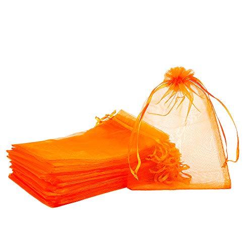 PandaHall - Lote de 100 bolsas de regalo de organza, 13 x 18 cm, color rojo y naranja