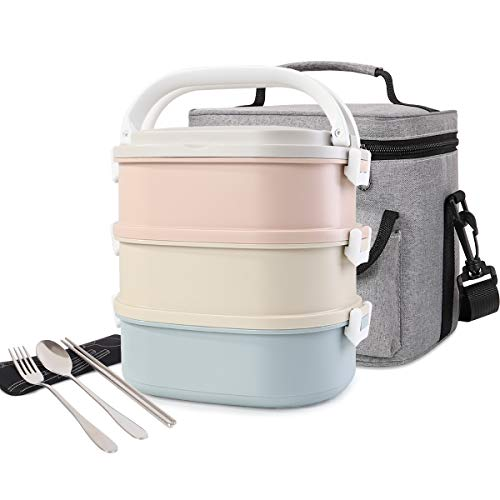 HOMESPON Lunchbox Snackbox mit 3 Unterteilungen Frischhaltedosenset Aufbewahrungsboxen,abbaubar und auslaufsicher mit Löffel Essstäbchen und Lunchtasche