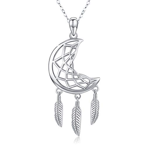 Crescent Moon Necklaces for Women 925 Sterling Silver Dream Catcher Necklace with Feather Charm Blessing Gift for Women Girls