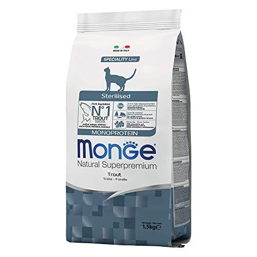 Monge Natural Superpremium Monoproteico per Gatto Sterilised al Gusto Trota da 1,5 kg