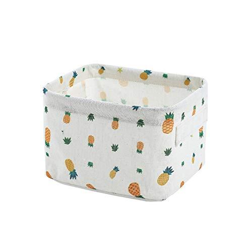 Honton Caja de almacenamiento cuadrada de estilo pastoral para cosméticos, bolsa de maquillaje plegable de tela para el hogar, sala de estar, dormitorio, 20,3 x 16,5 x 13 cm, color blanco