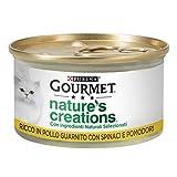 Gourmet Nature's Creations Umido Gatto, Ricco in Pollo, Guarnito con Spinaci e Pomodori - Confezione da 24 Lattine x 85 g - 2500 g