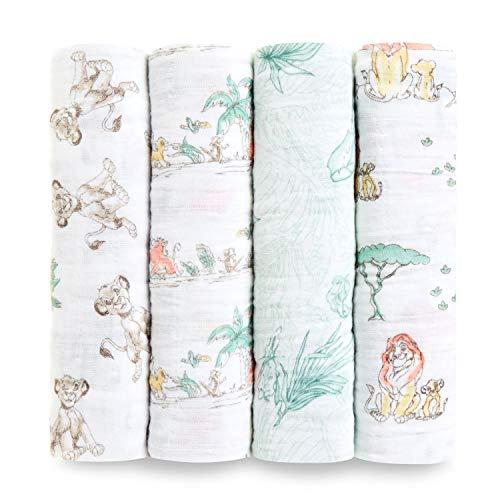 aden + anais Disney Swaddle Blanket, Boutique Muslin Blankets for Girls & Boys, Baby Receiving Swaddles, Ideal Newborn & Infant Swaddling Set, 4 Pack, Lion King