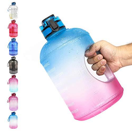 YINTE 1 Galón Motivacional Botella De Agua, Recordatorio De Gran Capacidad BPA Free Sport Top Timan Tritan Botella De Agua, Botella De Plástico para Beber con Escala De Ti Blue Pink