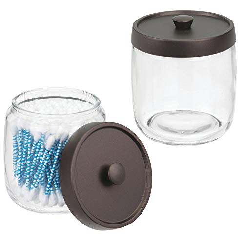 mDesign 2er-Set Wattestäbchenbehälter aus Glas – Behälter für Wattepads, Wattestäbchen und Wattebäusche mit Deckel aus Kunststoff – Wattespender in schlichtem Design – durchsichtig/bronzefarben