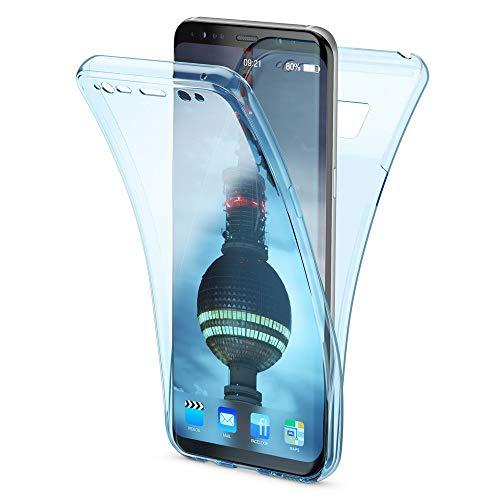 NALIA Funda 360 Grados Compatible con Samsung Galaxy S8 Plus, Delantera Trasera Protectora Movil Silicona Carcasa, Ultra-Fina Transparente Doble Cubierta Goma Bumper Cover Case, Color:Azul