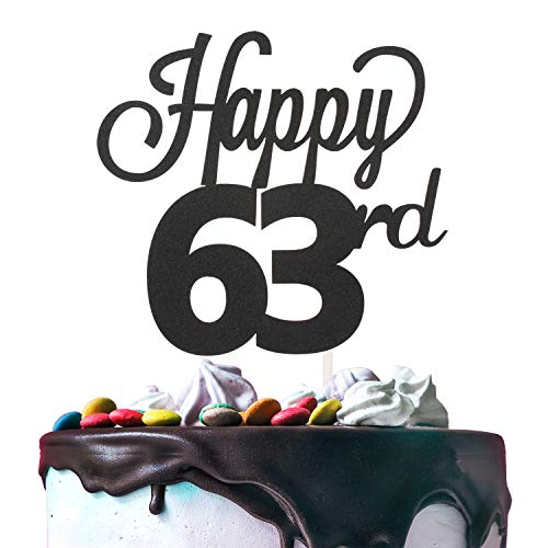 LINGTEER Happy 63rd Birthday Black Cake Topper Perfect for Cheers to 63 Years Old Birthday Party Gift Decorations Sign.