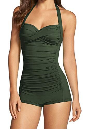 Sovoyontee Women's One Piece Tummy Control Swimwear Boyleg Ruched Swimsuit Army Green L