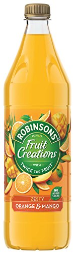 Robinsons Fruit Creations, Real Fruit Squash, Low Calorie, Zesty Orange and Mango, Pack of 12 x 1 Litre Bottles