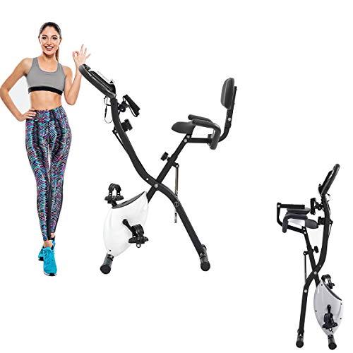 WERTYG Bicicleta estática plegable, bicicleta estática con pantalla LCD y resistencia ajustable de 10 niveles, puede soportar bicicleta vertical y horizontal, banda de tensión del brazo (nuevo)