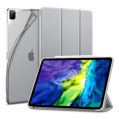 ESR Capa para iPad Pro 11 2020 e 2018, Bounce, Slim, Auto On/Off, Suporte de Música, Parte Traseira Flexível de TPU com Capa de Borracha, Cinza