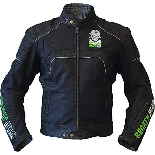 Broken Head Motorrad-Jacke StuntFreak - Coole Aramid Mesh-Jacke Im Jeans-Look - Atmungsaktiv & Mit Protektoren - XXL