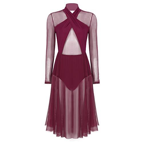 IEFIEL Vestido de Baile Vestido de Danza Contemporánea Moderna para Mujer Mangas Largas Halter Disfraz Bailarina Maillot Ballet con Falda Larga Rojo Vino Small