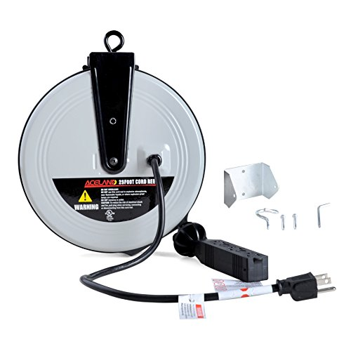 Aceland 25ft Retractable Extension Cord Reel with...