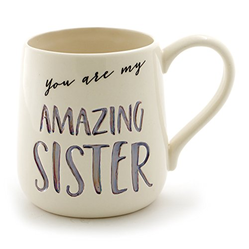 "Enesco Our Name Is Mud ""Amazing Sister"" Stoneware Engraved Coffee Mug, 16 oz, Purple"