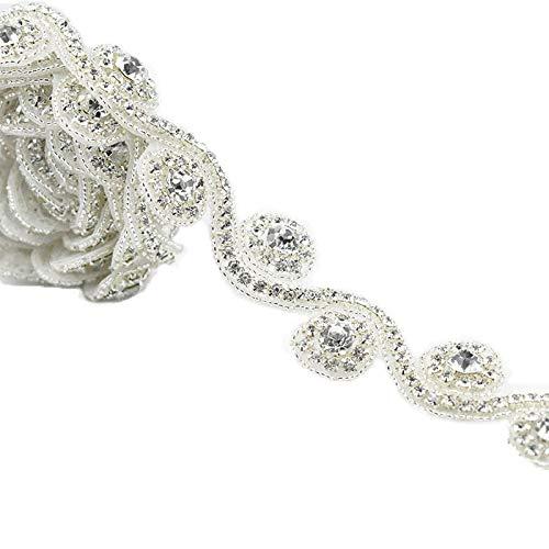 Astonish 1 Yard Handgemachte freie Kristallstrassapplikationen Eisen-On Hot-Fix NäHen Handwerk für Wedding Dress Braut Sash Gürtel