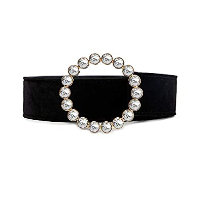 YAYOHU Fashion Designer Belts for Women,Leather Belts for Jeans Dress Pants with Gorgeous Colorful Crystal Buckle,Statement Gift for Women Girls(White-round)