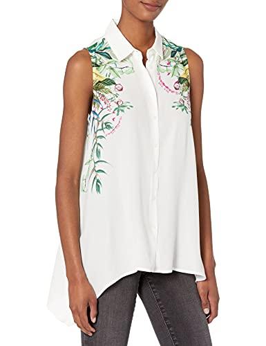 Desigual CAM_FILADELFIA Camiseta, Blanco, L para Mujer