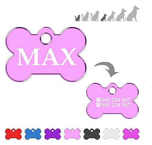 Hueso para Mascotas Muy pequeñas Placa Chapa Medalla de identificación Personalizada para Collar Perro Gato Mascota grabada (Rosa)