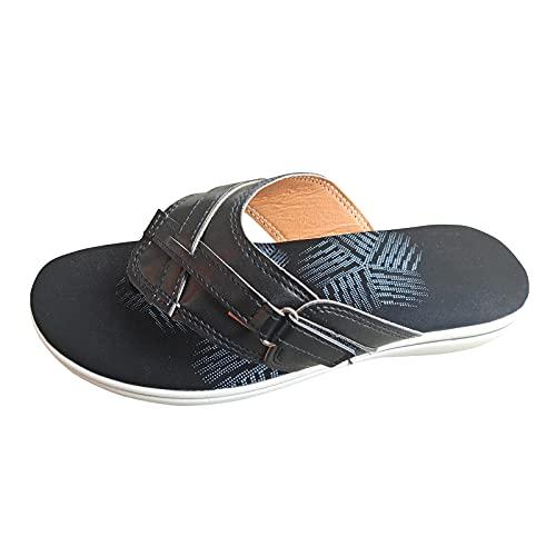 Pianshanzi Zapatillas de verano para mujer, cómodas, sandalias de playa para mujer, sandalias planas, con punta abierta, para la playa, Negro , 40 EU