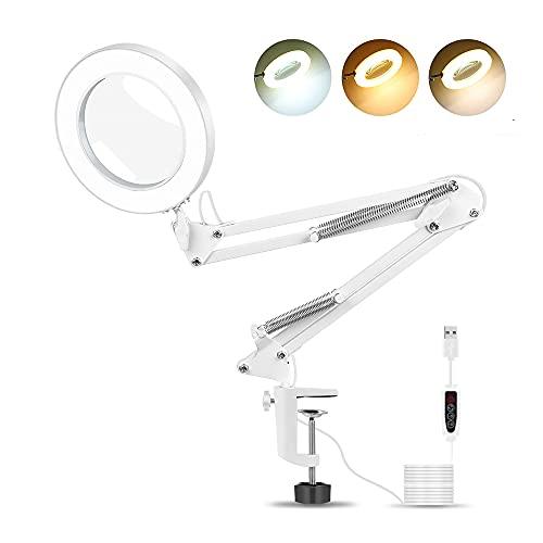 Lámpara de escritorio con lupa NEWACALOX con brazo giratorio ajustable, lámpara de aumento con lupa grande con 3 modos de color para mesa de escritorio de lectura artesanal o banco de trabajo