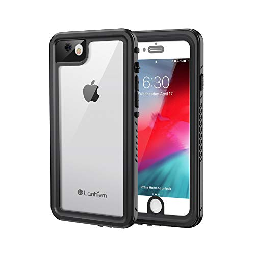 Lanhiem iPhone 7 Case, iPhone 8 Case, IP68 Waterproof Dustproof Shockproof Case with Built-in Screen Protector, Full Body Sealed Underwater Protective Cover for iPhone 7/8 (Black)