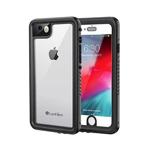 Lanhiem für iPhone SE 2020 Hülle, iPhone 8 Hülle, iPhone 7 Hülle IP68 Wasserdicht 360 Grad Handyhülle, Stoßfest Staubdicht Schneefest Outdoor Schutzhülle mit Eingebautem Displayschutz, Schwarz