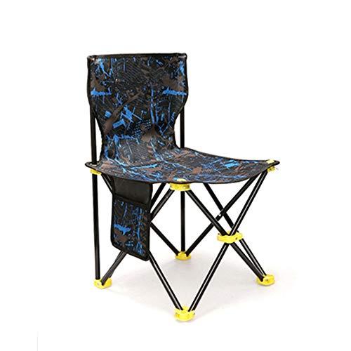 YBWEN Silla plegable portátil plegable ligera para camping, playa, pesca, viajes, silla plegable, estructura de tubo de acero, silla plegable (color: azul, tamaño: S)