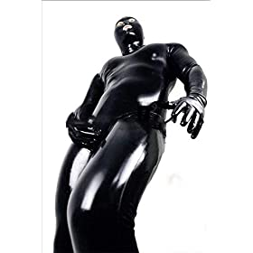 WYYSYNXB Sexy Men Black Wet Look Catsuit Prisoner Patent Leather All Inclusive Tight Jumpsuit Night Club Bar DS Stage…