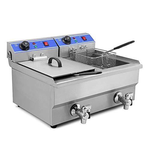 Olibelle 6000W 20L Friteuse Electrique En Inox Fryer Friteuse Cuve Avec Réservoir Amovible