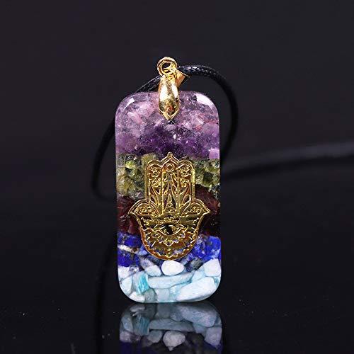 Naswi Crystal Resin Orgonite Pendant Hamsa Hand Necklace Fatima Smart Jewelry Resin Crafts Pendant