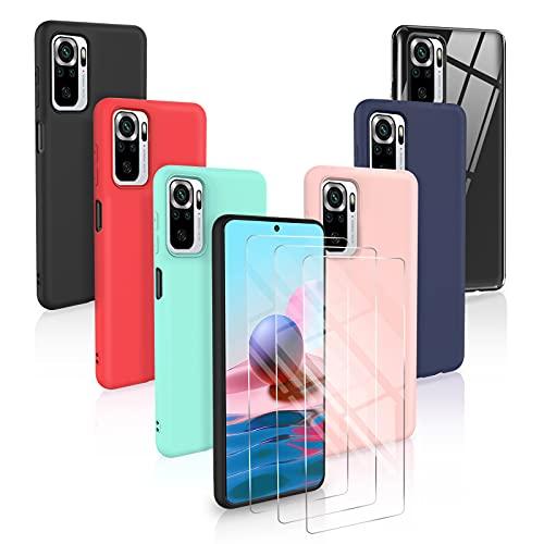 [6 Pack] Funda Xiaomi Redmi Note 10 Pro/Note 10 Pro MAX + [3 Pack] Protector Pantalla, Carcasa en Silicona - [ Negro + Rosa + Azul Oscuro + Rojo + Menta Verde + Transparente ]