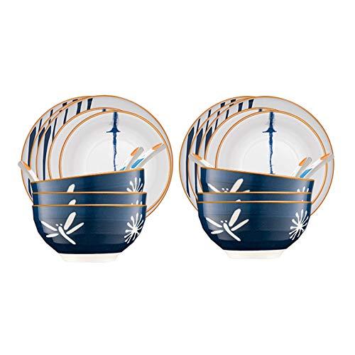 NYKK Conjunto de Placa de Cena Elegante Conjunto de Placa de Cena de cerámica Duradera, Cuchara de Placa de Bocadillo de Placa, Servicio para 6, 22 Piezas de Placa de Cocina