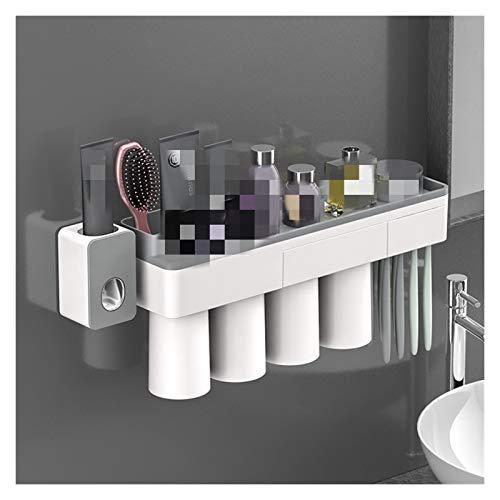 Cuarto de baño Accesorios de baño Conjunto Soporte de cepillo de dientes Automático Pasta de dientes Titular de dispensador de cepillo de dientes Cepillo de dientes Montaje de pared Rack Herramientas