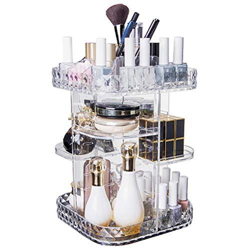 SASKATE Make-up Organizer Vitrine, DIY 360-Grad rotierende Kosmetik-Aufbewahrungsbox Einstellbare Kosmetik-Organisationsbox mit großer Kapazität