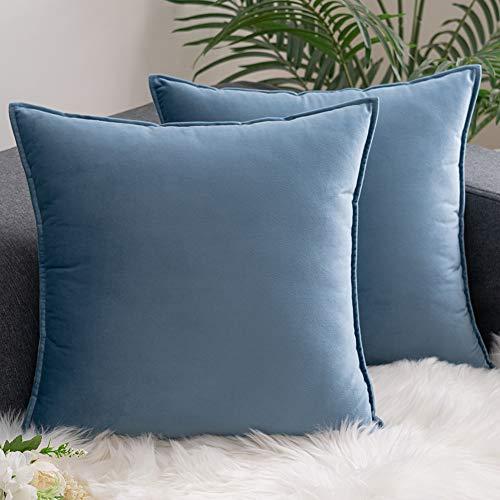 AHAHA Confezione da 2 Federe Cuscini Divano Copricuscini Decorativi Federe in Velluto per Camera da Letto Casa e Auto 50X50cm Azzurro