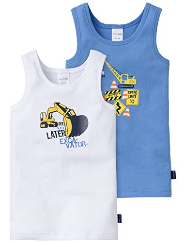 Schiesser Jungen Multipack 2PACK Hemd 0/0 Unterwäsche, Mehrfarbig (Blau Sortiert 1 901), 104 (2er Pack)