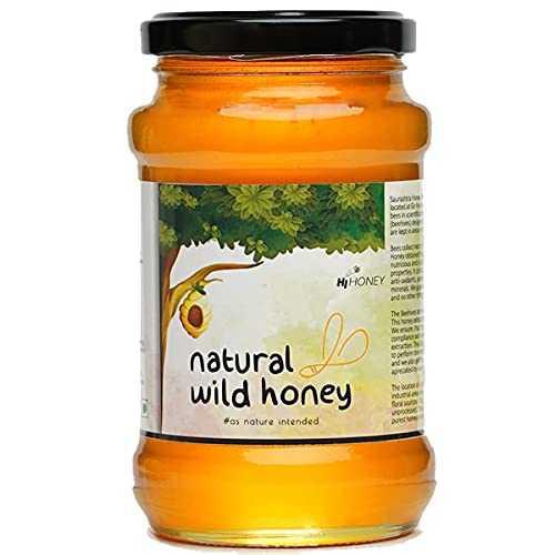 Hi Honey Raw Organic Wild Honey   an Ayurvedic Remedy for Weight Loss, Cough and Digestive Problems (530gm) - Glass Jar (Raw...