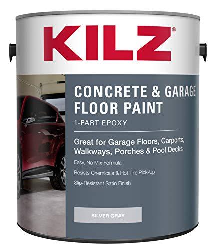 KILZ L377611 1-Part Epoxy Acrylic Interior/Exterior Concrete and Garage Floor Paint, Satin, Silver Gray, 1-Gallon, 1 Gallon, 4 l