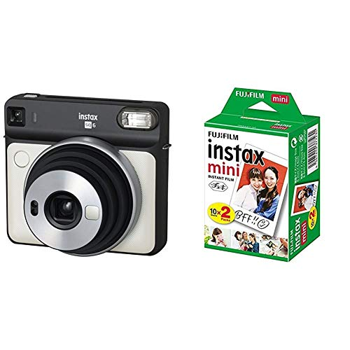 セット買いFUJIFILM チェキ SQUARE SQ6 パールホワイト INS SQ 6 PEARL WHITE & FUJIFILM インスタントカメラ チェキ用フィルム 20枚入 INSTAX MINI JP 2