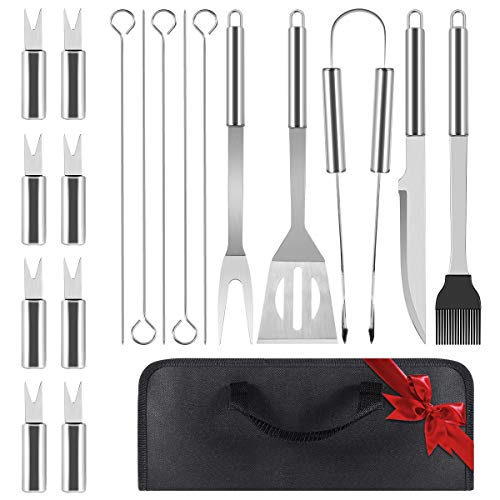 L-Bulice Barbecue Set, 18PCS Stainless Steel Grill Kit with Tote Bag, Grill Tool Set -Spatula, Fork, Knife, Basting Brush for Outdoor Barbecue, Teppanyaki and Camping