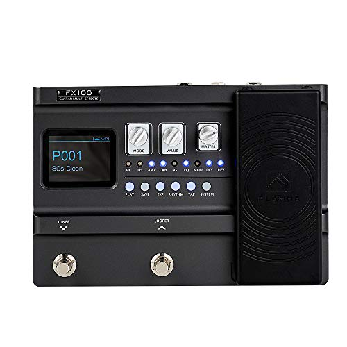 FLAMMA FX100 Guitar Multi-effects Pedal Processor with 151 Effects 80-Second Looper 200 Presets 55 Amp Models 40 Drum Machine 10 Metronome