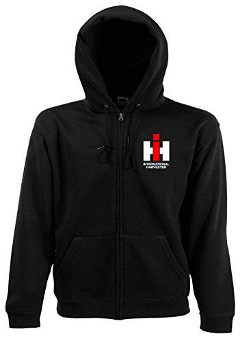 Bimaxx® Hoodie mit Reißverschluss   IHC International Harvester   schwarz   Größe L