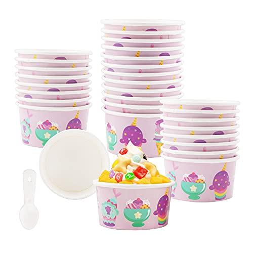 Vasos de Papel Para Helado,50 Copas de Helado de Cartón tarrinas de helado Tazas de papel para hornear Tina de postre Tazones de helado con cucharas para helado sopa pastel de yogur helado