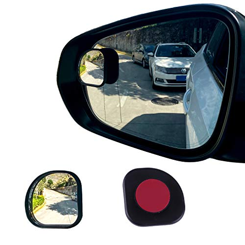 LivTee Framed Fan Mini Blind Spot Mirror, HD Glass and Wide Angle Rearview Mirror with Adjustable Stick for Universal Car (2 pcs)
