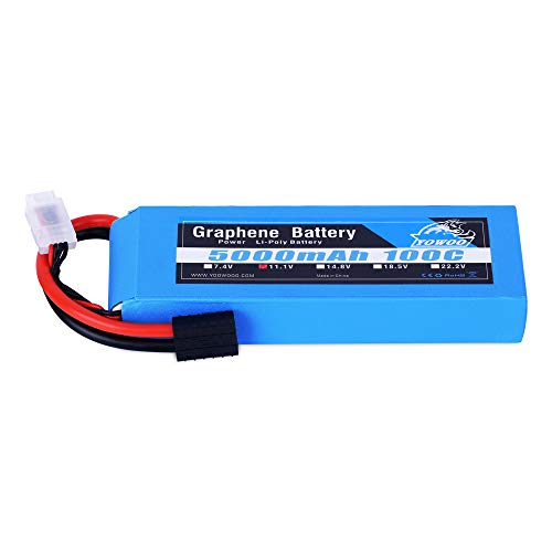 YOWOO Graphene Battery 3S 5000mAh 100C 11.1V Lipo Rechargeable Battery with Traxxas Plug for 1/8 Scale Vehicles Arrma Slash VXL Slash 4x4 VXL E-maxx Brushless Axial e-revo Brushless and Spartan Models