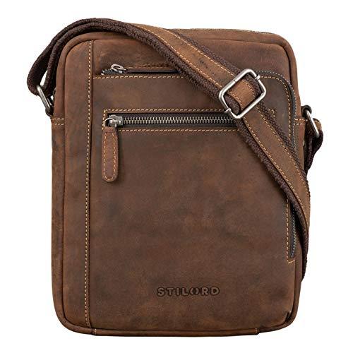 STILORD 'Bruce' Vintage Herrentasche Ledertasche Kleine Umhängetasche für Männer 9.7 Zoll iPad Tasche im Vintage Stil Echtes Leder, Farbe:Sierra - braun
