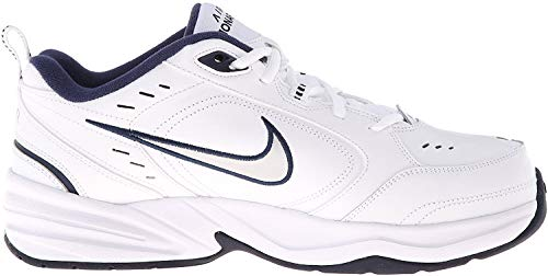 Nike Men's Air Monarch IV Cross Trainer, White/Metallic Silver/Midnight Navy, 14 4E US